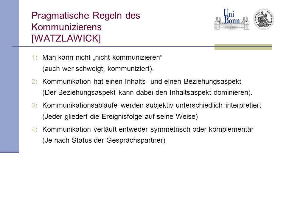 Pragmatische Regeln des Kommunizierens [WATZLAWICK]